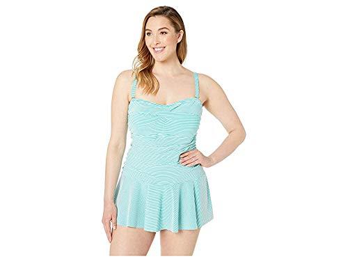 LAUREN RALPH LAUREN Women's Plus Size Seersucker Stripe Twist Shirred Underwire Skirted One-Piece Aquamarine 22 W