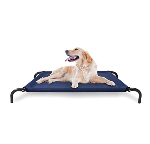 1 Piece Navy Blue Large 52 Inches Indoor Outdoor Cooling Elevated Hammock Pet Bed, Deep Blue Color Raised Dog Bedding Cot Breathable Mesh Mildew Resistant, Easy Assembly Light Weight, Steel