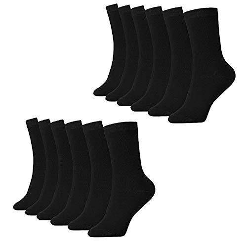 PACKO Crew Socks Men Thin Cotton Socks High Ankle Lightweight Black Socks (Black Size(9-12), 12)