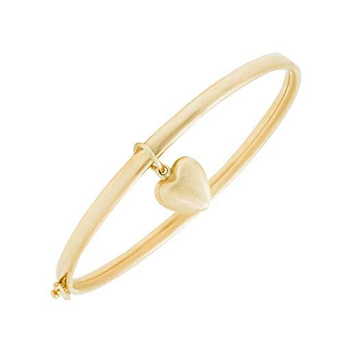 Gold Dangling Heart Bracelet - Girl's 14K Yellow Gold Dangling Heart Charm Bangle Bracelet (5 1/4 in)