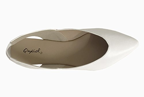 Pointed On Flats 01 Slip White Womens ZOOM Qupid Leatherette Slingback Toe xFwA5Y