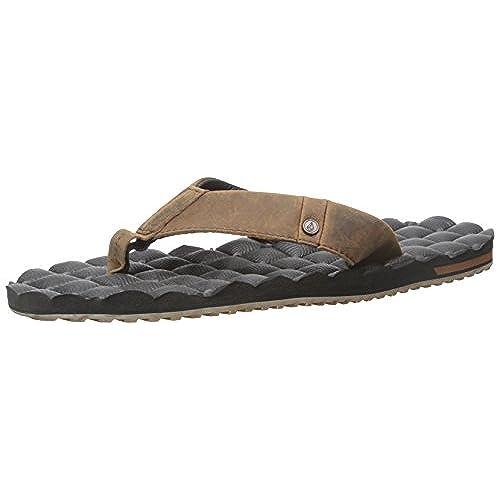 Volcom Men's Recliner Leather Sandal Flip Flop, Vintage Brown, 8 C/D US