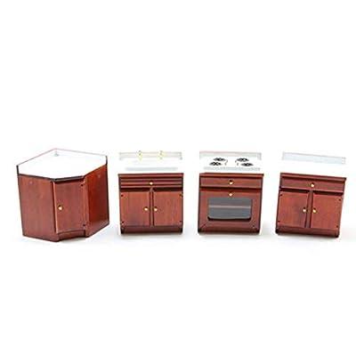 Dollhouse Miniature 1:12 Scale 4 Piece Cherry Kitchen Set: Toys & Games