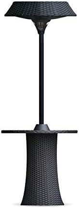 2100W商業用ヘビーデューティ屋外スタンディングハロゲンヒーターとプラスチック製織棒|黒鉄塗装面|リモートコントロールスタイル|時間を調整することができます/温度調整/照明を変更する|終日実行