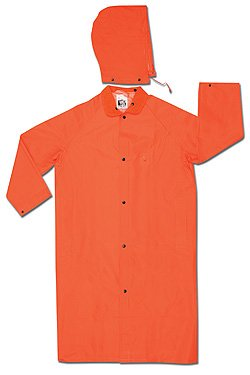 MCR Safety Garments 3X-Large Classic Plus Rain Coat River City Orange Polyester//PVC Snaps Closure 241CX3