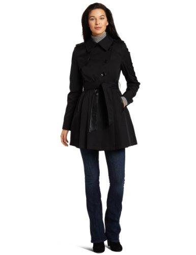 UPC 763656162569, Via Spiga Women's Assymetrical Rain Trench Coat, Black, Large