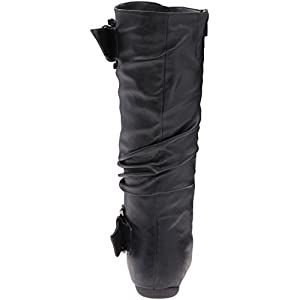 Top Moda Women's Round Toe Slouchy Boot with Buckle, Black, 9