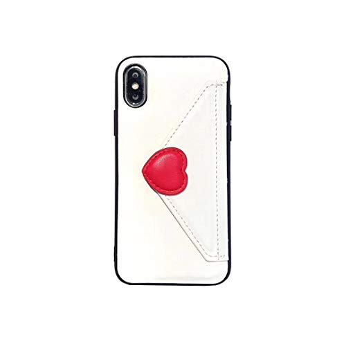 YonMeet Love Heart Leather Case for iPhone 7 Plus 8 Plus Envelope Wallet Cover with Card Holder Protective Slim Back Shell Casing (White, iPhone 7Plus/8Plus 5.5'')