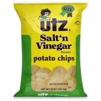 Utz Potato Chips, Salt 'n Vinegar Flavored, Family Size, 10 oz, (pack of 3)