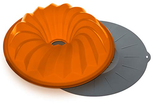 The Clever Cuisine Silicone Bundt Pan Spiral Cake Mold, Perfect Thickness to Keep Consistent Form 10.5 D X 2.5 H, and Cover