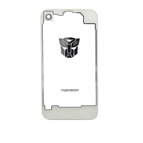 GINOVO Clear Transparent Glass replacement back cover housing battery door compatible for GSM AT&T iPhone 4 , [ unfit Verizon iPhone 4 and iPhone 4S ] (Transformers White Autobots)