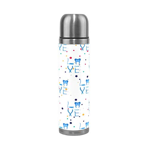 WangH Stainless Steel Dentistry Tooth Love Water Bottle Thermos- Insulated Vacuum Cup, Leather Cover 17 oz Travel Mug for Kids Adults
