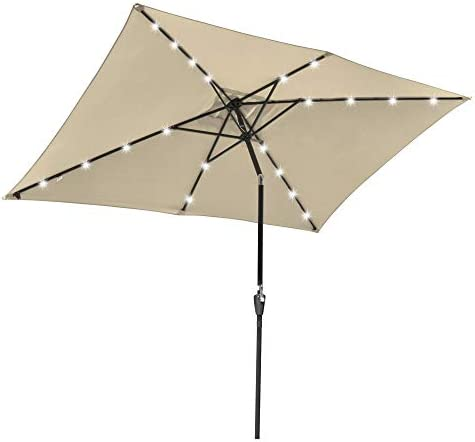 Yescom 10×6.5ft Outdoor Rectangle Solar Powered LED Lighted Patio Umbrella
