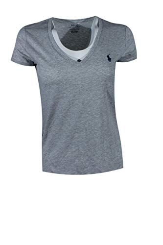 Polo Ralph Lauren Womens Pony Logo V-Neck T-Shirt (X-Large, Taylor Heather (Navy Pony)) (Ralph Lauren Clothing Women)