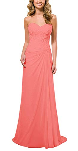 Long Evening Dress Party Strapless Dresses Prom Bridesmaid Chiffon Coral ASBridal 7TqAfFx