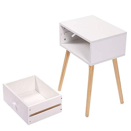 Cypressshop Wooden Tea Side End Table Bed Side Nightstand with Drawer Modern Retro Decor Furniture White