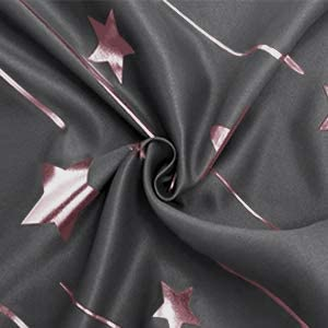 Foil Printed Thermal Insulated Privacy Energy Saving Grommet Window Curtain 52 x 63 inch Length Dark Grey DWCN Pink Star Blackout Curtains Set of 2 Kids Room Bedroom Curtains