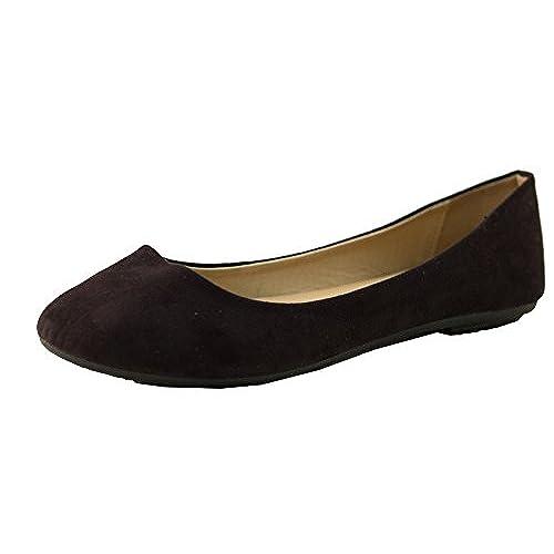 cheap Women's Micro Suede Ballet Flats (7 B(M) US, Black)
