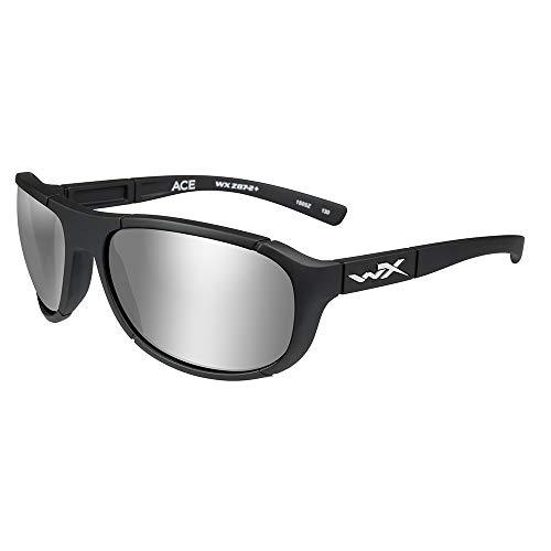 Wiley X ACACE06 Ace Sunglasses Polarized Silver Flash Lens Matte, Black