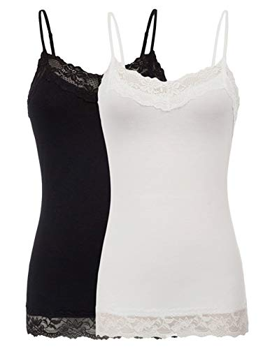 Women's Adjustable Spaghetti Strap Lace Trim Cami Tunic Tank Top (S,2 Pack) -