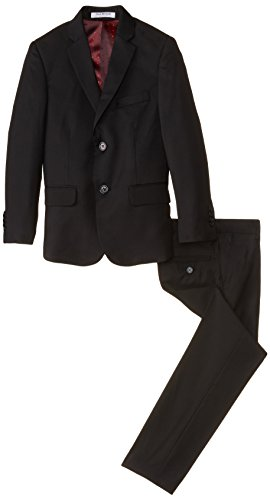 Isaac Mizrahi Big Boys' Slim Boys 2 Piece Cut Linen/Cotton Suit, Black, 18