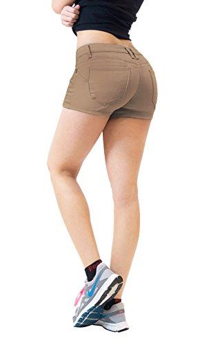 (HyBrid & Company Womens Butt Lifting Twill Denim Shorts SH43308 TAN 5)