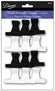 "Butterfly Clamps 1-dozen Small Size: 2"" Black & White"