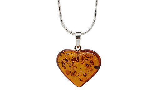 (925 Sterling Silver Heart Pendant Necklace with Genuine Natural Baltic Amber. Chain Included/Large)