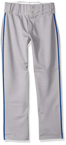 Alleson Ahtletic Boys Youth Baseball Pants with Braid, Grey/Royal, X-Large