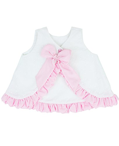 RuffleButts Infant/Toddler Girls Open Back Swing Tank Top with Bow - White - 6-12m by RuffleButts