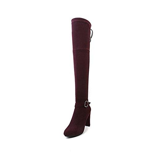 Sandalette-DEDE Zapatos de Mujer de tacón Alto de Moda, Rodilla Grande, Botas, Botas Gruesas de Rodilla y Rodilla. Red wine