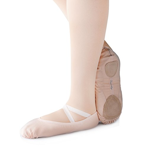 KUKOME-SHOP Canvas Ballet Shoe Girls' Ballet Flat Split Sole Different Sizes for Children and Adults (EU31/US13=7.87