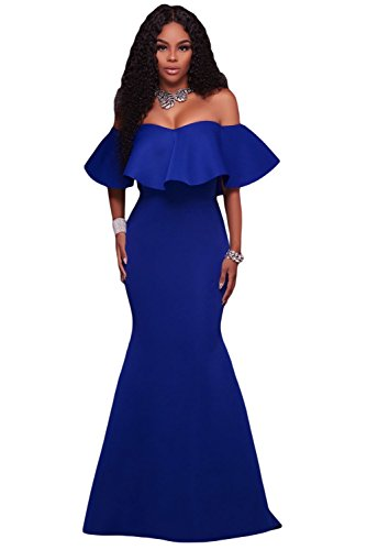 [OUR WINGS Women Royal Blue Ruffle Off Shoulder Ponti Maxi Party Evening Dress L] (Floral Long Skirt Evening Gown)