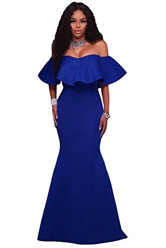 Women Long Evening Party Dress Blue - 6