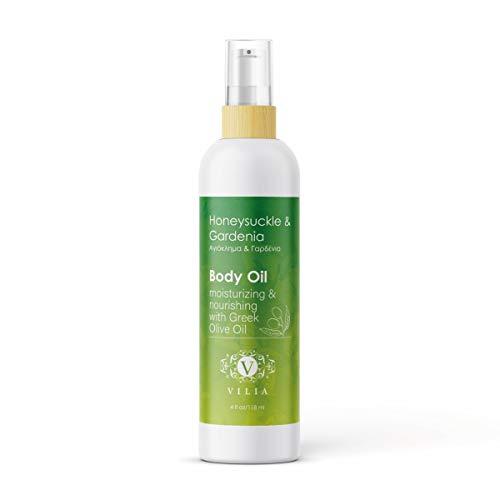 Honeysuckle Vitamins - Lightweight Daily Moisturizing Body Oil. 100% Pure Blend of Extra Virgin Olive Oil, Almond Oil, Grapeseed Oil, Rosehip Oil, Jojoba Oil and Vitamin E. Honeysuckle & Gardenia.
