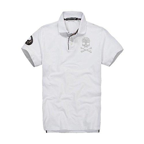 (スカルシリーズ) ポロシャツ スカル ドクロ SKULL 半袖 鹿の子 ゴルフウェア ラインストーン XZY1404SL