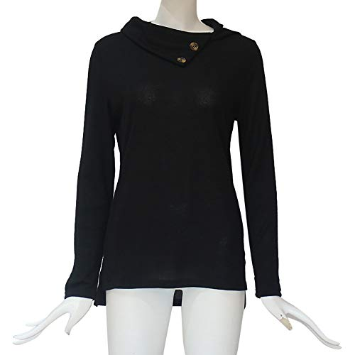 Sweatshirt Collar Women's Sleeve XOWRTE Blouse Tops Pullover Long Skew Fall Black Botton a1qw0Zx