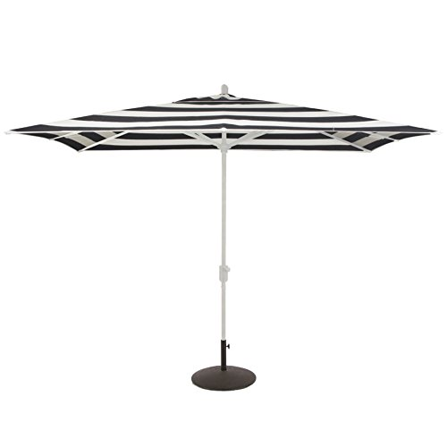 Secret Garden Home Goods La Jolla 10' x 6.5' Rect Elastic Upper Pole Market Umbrella (White Sand, Sunbrella- Black Stripe)