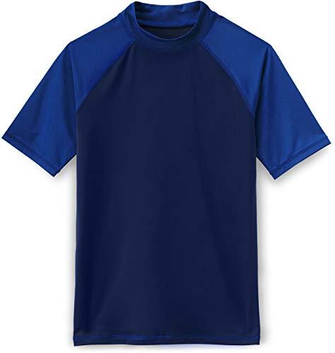 (TSLA UPF 50+ Short Sleeve Rashguard Youth Surf Kids Swim Top, Rashguard(bsr15) - Navy & Cobalt Blue, X-Large (16))