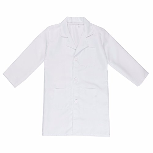 iEFiEL Unisex Kid's Lab Coat Long Sleeves Doctor Cosplay Fancy Dress Party Costume White 12-14 ()