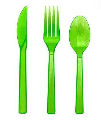 - Neon Green Plastic Cutlery Set Fork Spoon Knives - 48pc Set