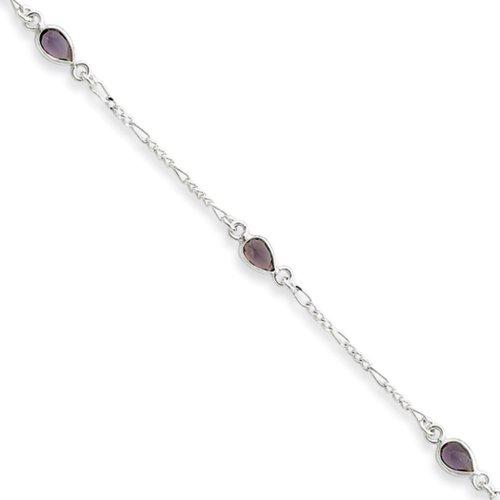 - Black Bow Jewelry Sterling Silver Amethyst Teardrop Anklet, 9 Inch