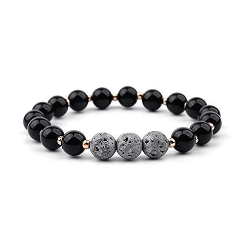 8Mm Lava Stone Aromatherapy Essential Oils Diffuser Bracelet for Men Woman Elastic Chakra Healing Yoga Beads Bracelet Bangle Black and Gray (David Yurman Id Bracelet)