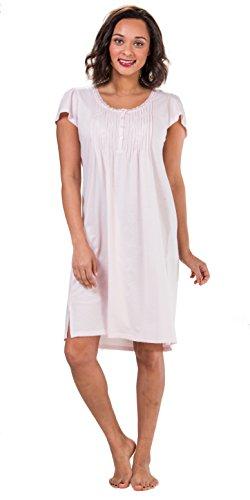 Miss Elaine Plus Gowns Short Flutter Sleeve Silkyknit - Petal Pink (Pink, (Miss Elaine Satin Nightgown)