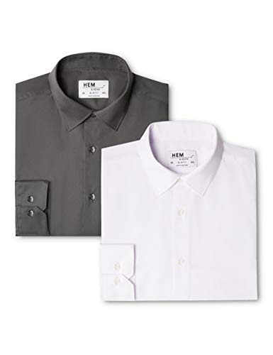 Chemise Slim Homme charcoal Business 2 White Fit Solid Multicolore Seam amp; Pack Hem TqCHg