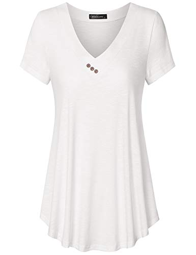 (Vinmatto Women's Short Sleeve V Neck Flowy Tunic Top(XXL,White) )