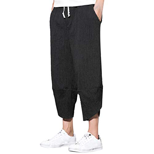 QueenMMMen's Super Soft Cotton Linen Casula Loose Cropped Pants Solid Relaxed Fit Wide Leg Harem Pants Black