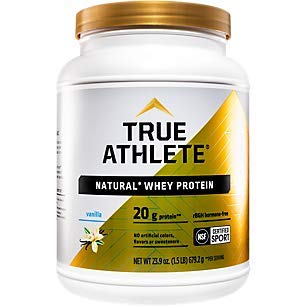 True Athlete Natural Whey Protein Vanilla, 20g of Protein per Serving Probiotics for Digestive Health, Hormone Free NSF Certified for Sport (1.5 Pound Powder)