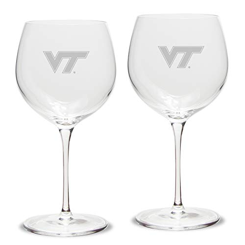 NCAA Virginia Tech Hokies Luigi Bormioli Titanium Red Wine Glass - Set of 2, Clear, 18 ()