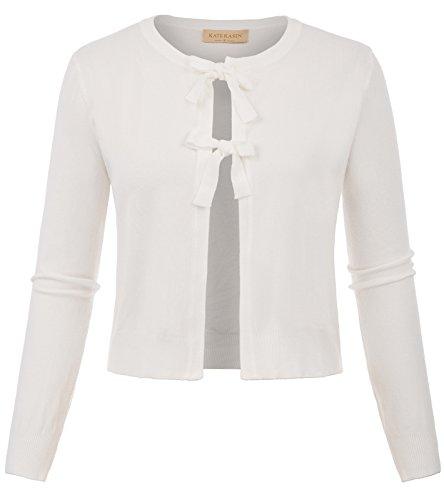 Kate Kasin Womens Vintage Retro Career Shrugs Knit Cardigan Office Wear Ivory,XL